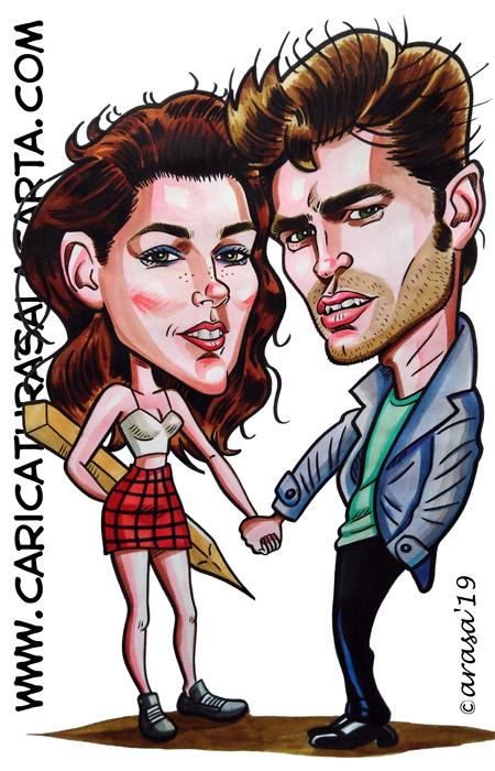 Caricaturas en 1 hora de famosos: Kristen Stewart y Robert Pattinson protagonistas de Crepusculo