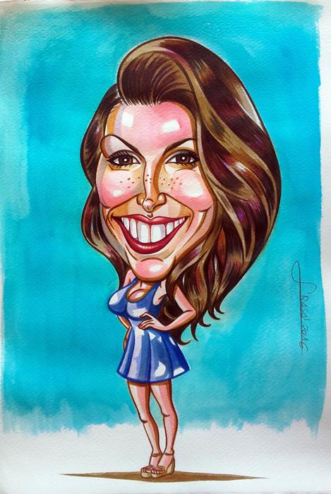 Caricatura personalizada a acuarela para un cliente de Clara, concursante de Gran Hermano 17.