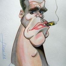 Caricatura a acuarela de Arnold Schwarzenegger
