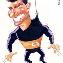 Caricaturas de famosos: acuarela de Tom Cruise en Misión Imposible