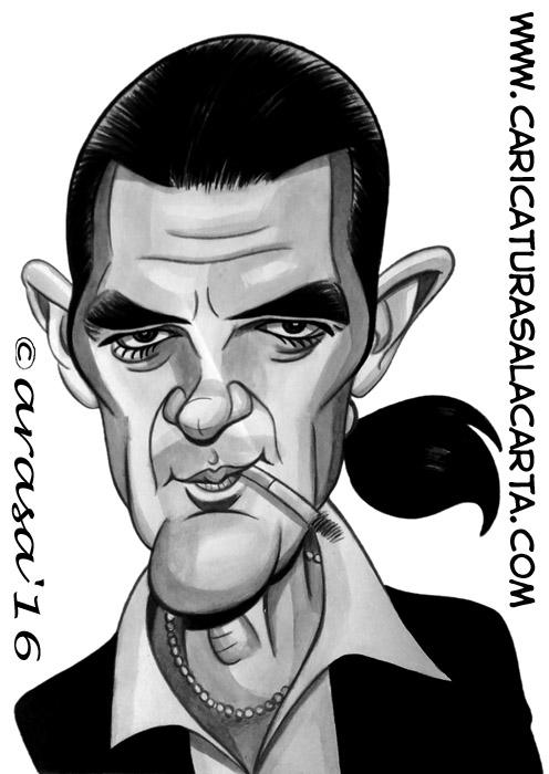 Caricaturas en blanco y negro de famosos: Antonio Banderas