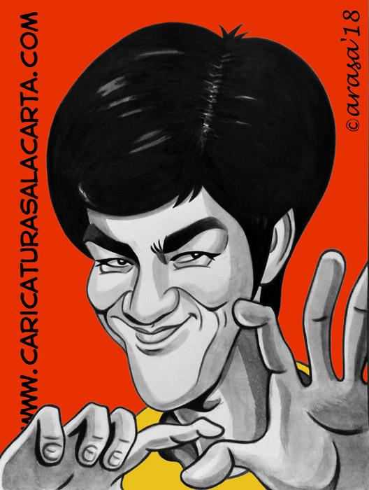 Caricaturas en blanco y negro de famosos: Bruce Lee, actor experto en artes marciales