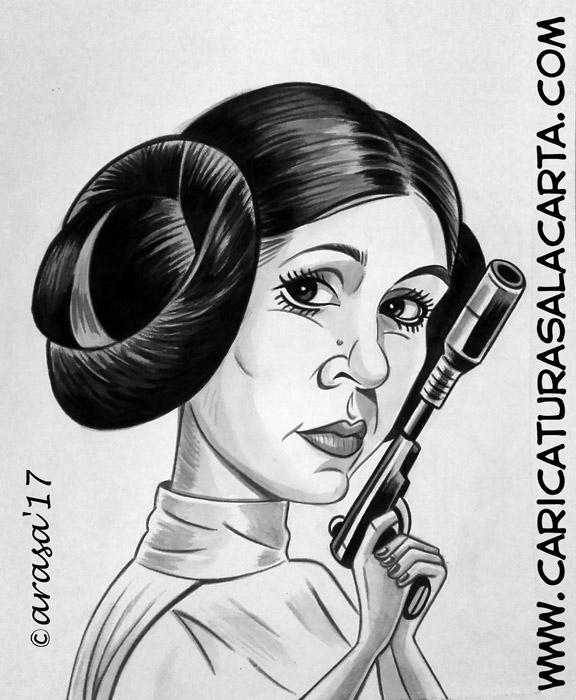 Caricaturas en blanco y negro de famosos: Carrie Fisher, Princesa Leia en Star Wars
