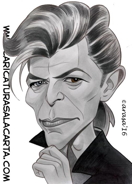 Caricatura rápida en blanco y negro con un toque de color pintada con acuarela y lápiz de color en tonos grises del tristemente fallecido cantante, compositor y actor David Bowie