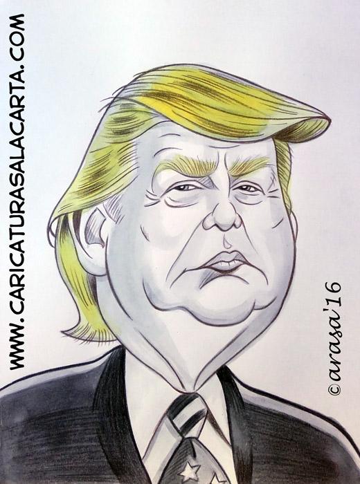 Caricaturas en blanco y negro de políticos famosos: Donald Trump (blog)