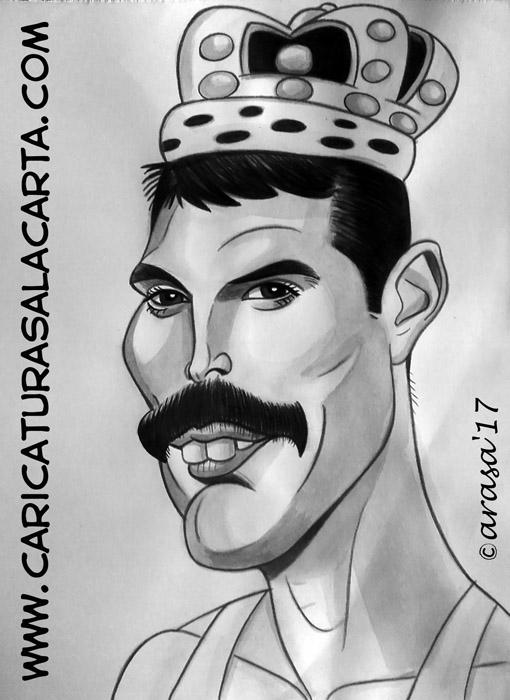 Caricaturas en blanco y negro de famosos: Freddie Mercury, cantante y compositor de Queen
