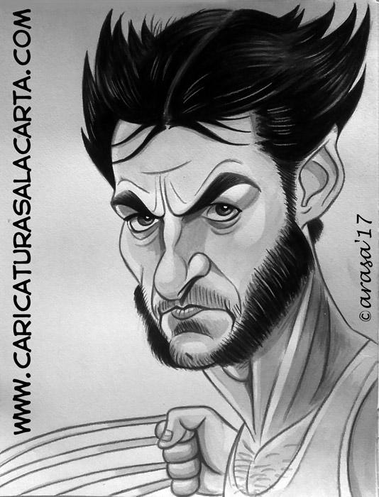 Caricaturas en blanco y negro de famosos: Hugh Jackman, lobezno (wolverine) en X-Men