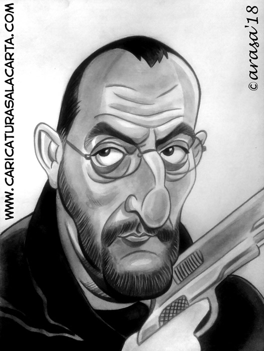 Caricaturas en blanco y negro de famosos: Jean Reno, famoso actor francés de ascendencia española
