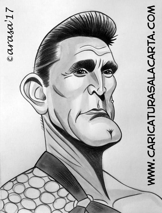 Caricaturas en blanco y negro de famosos: Kirk Douglas