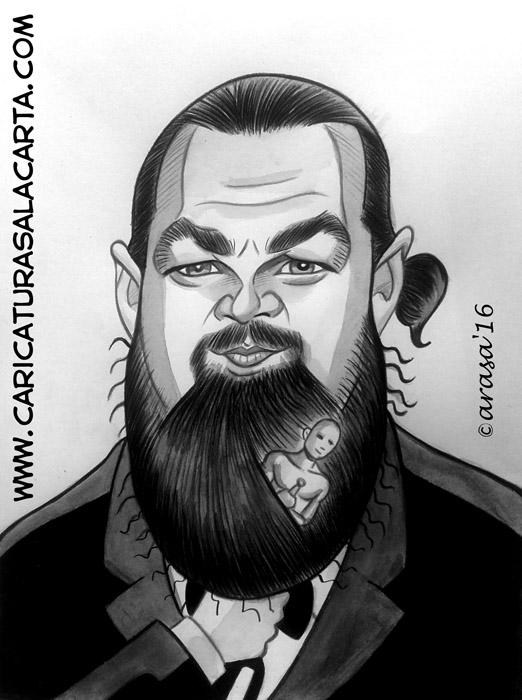 Caricatura rápida en blanco y negro pintada con acuarela y lápiz de color en tonos grises del famoso actor Leonardo DiCaprio que por fin ha ganado el Oscar con