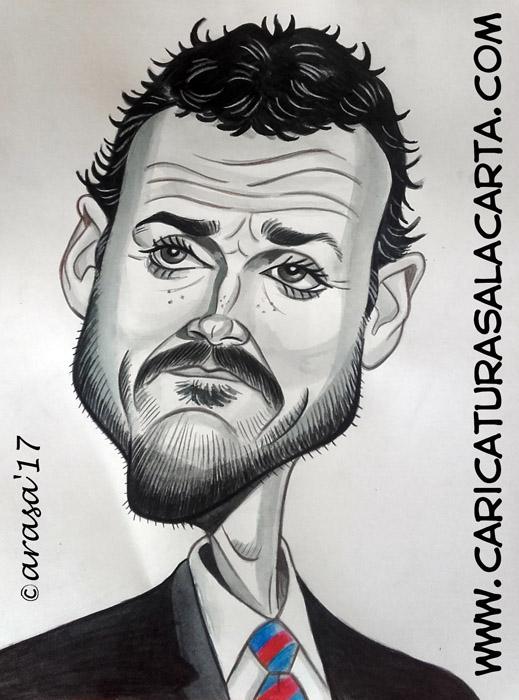 Caricaturas en blanco y negro de famosos: Luis Enrique, entrenador del Barça
