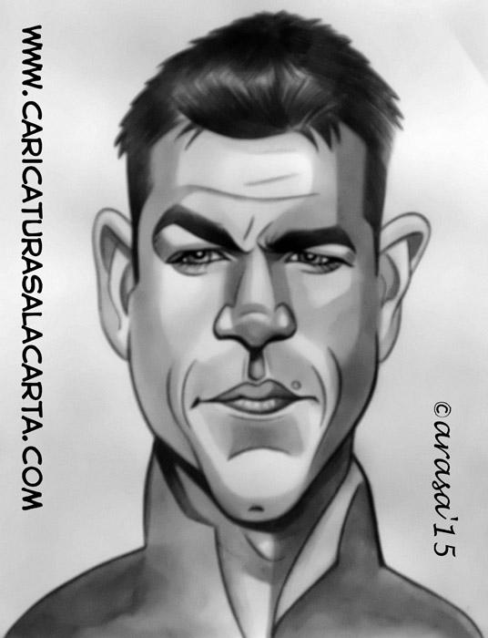 Caricatura rápida en balnco y negro de Matt Damon como Jason Bourne