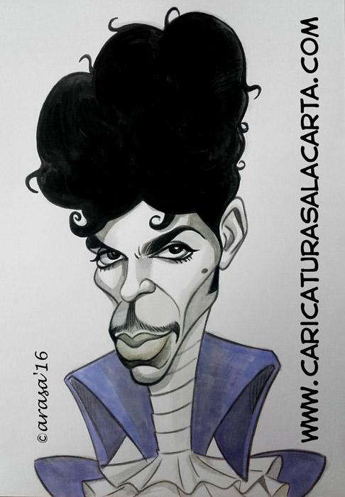 Caricatura en blanco y negro con un toque de color del cantante Prince