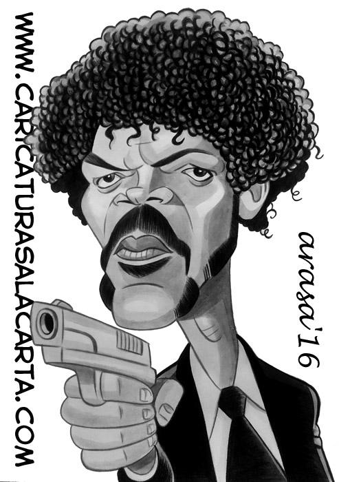 Caricatura rápida en blanco y negro pintada con acuarela y lápiz de color en tonos grises del famoso actor de Pulp Fiction