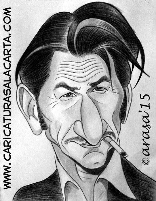Caricatura rápida en blanco y negro pintada con acuarela y lápiz de color en tonos grises del famoso actor y director de cine Sean Penn