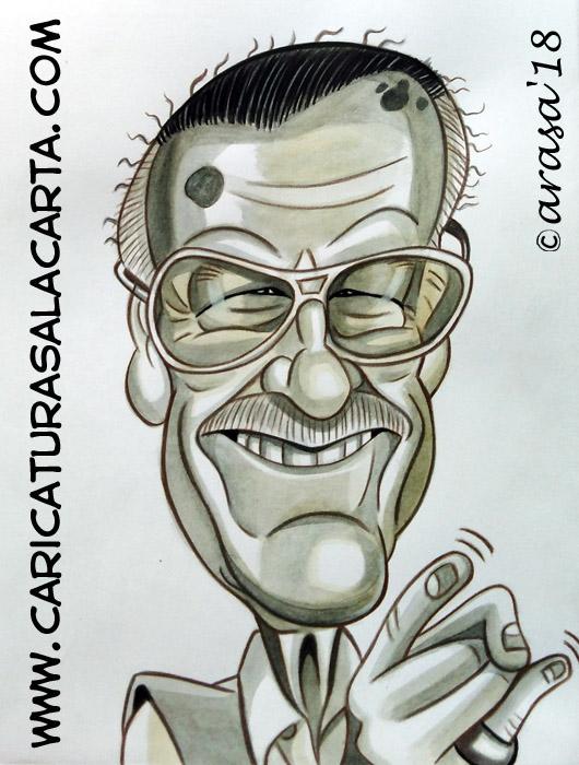 Caricaturas en blanco y negro de famosos: Stan Lee, creador de personajes de cómic Marvel como Spider-man, Iron Man, Hulk o Thor