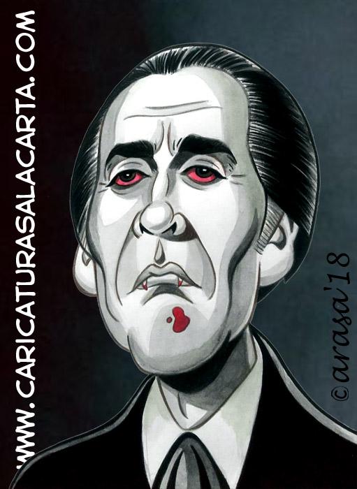 Caricaturas en blanco y negro de famosos: Christopher Lee (Drácula), famoso actor de cine de terror