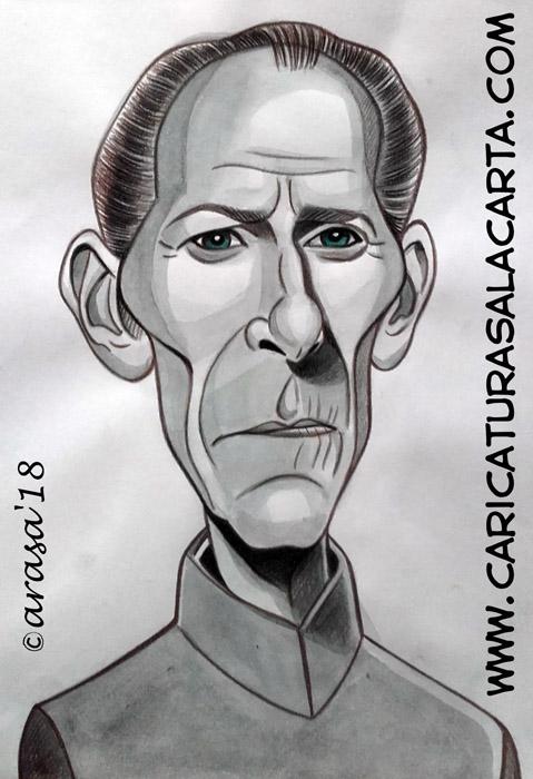 Caricaturas en blanco y negro de famosos: Peter Cushing, famoso actor de cine de terror y Star Wars para halloween