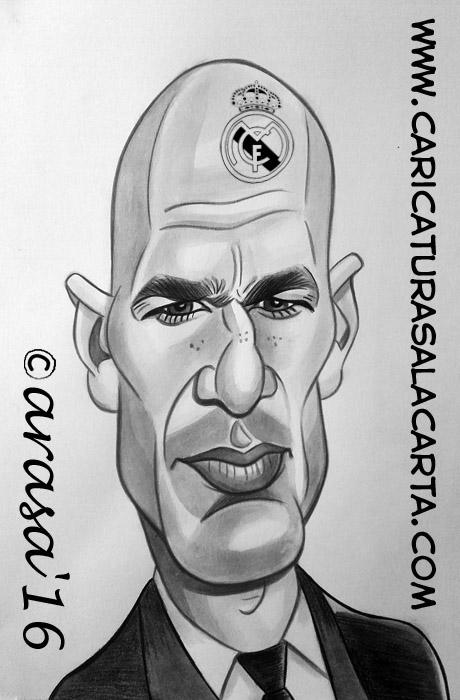 Caricatura en blanco y negro de Zinedine Zidane, jugador y entrenador de fútbol del Real Madrid