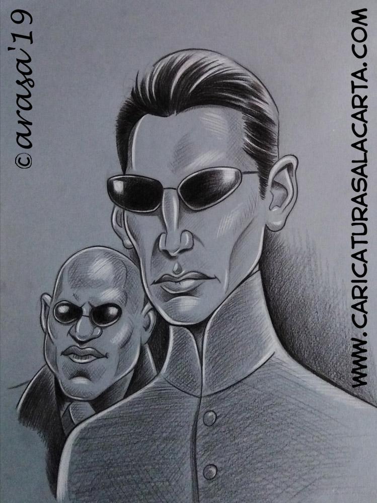 Caricaturas en blanco y negro de famosos: Keanu Reeves en Matrix para el blog