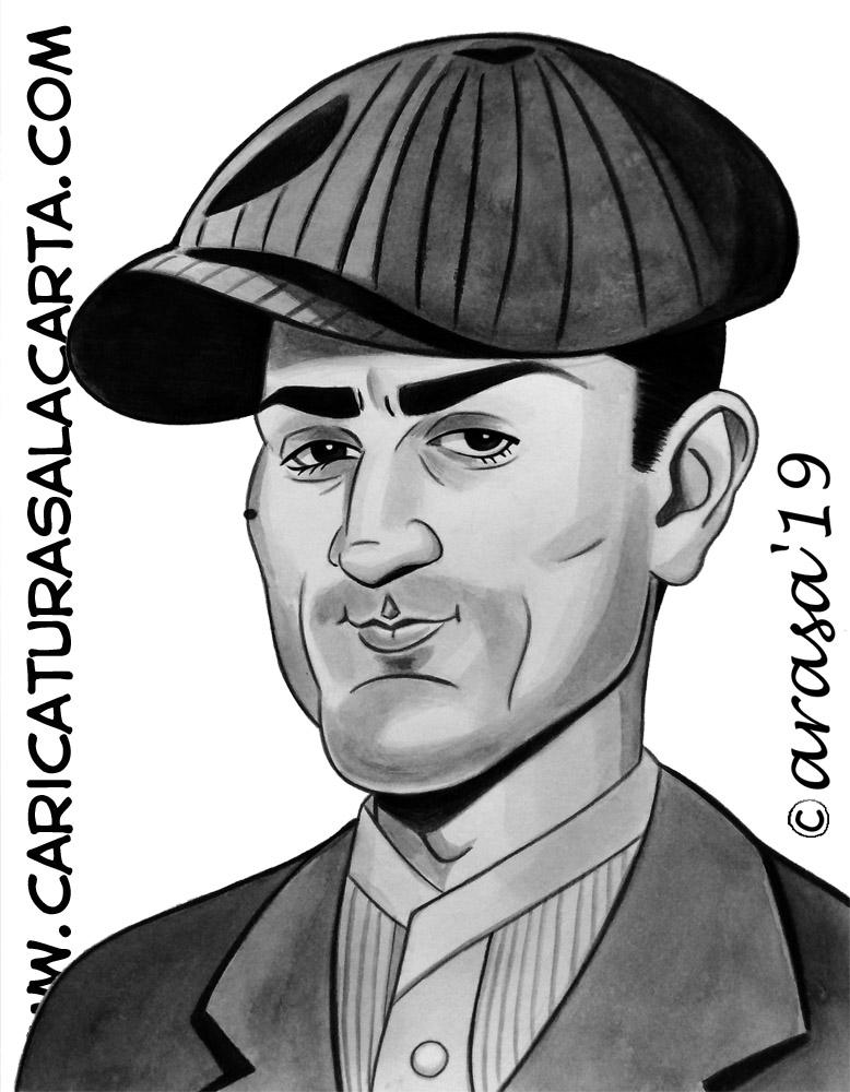 Caricaturas en blanco y negro de famosos: Robert De Niro en El Padrino para el blog