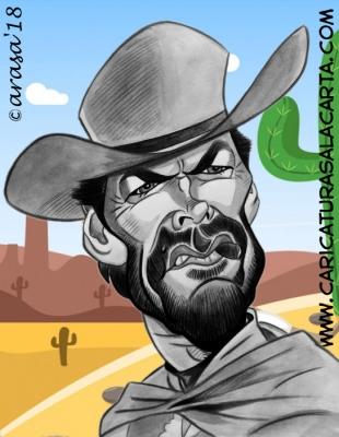 Caricatura de Clint Eastwood en spaghetti western