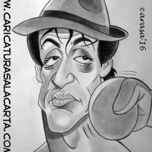 Caricaturas de famosos: Sylvester stallone como Rocky Balboa