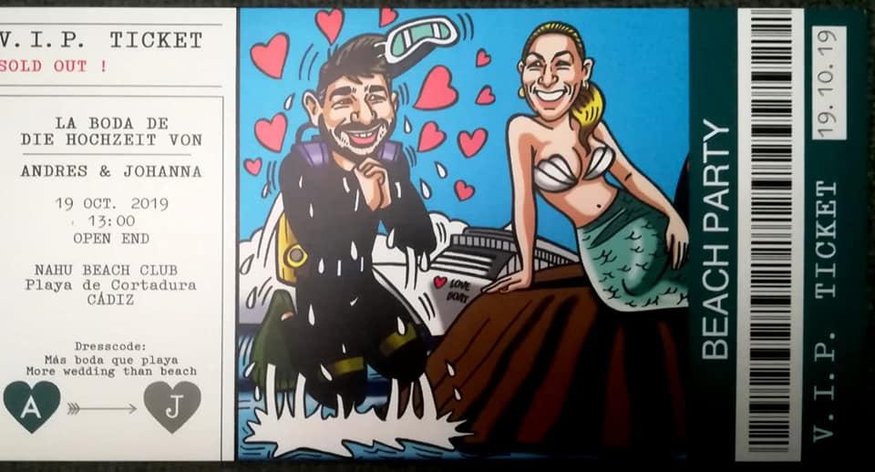Invitaciones de boda divertidas y originales con caricaturas para Veli
