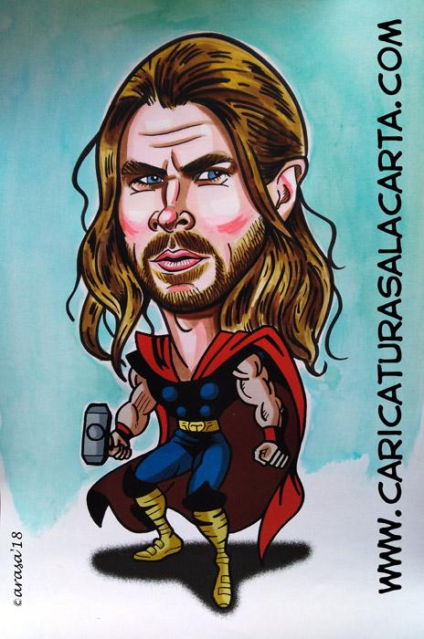 Caricaturas de cine de famosos: Chris Hemsworth es Thor en las películas sobre cómics Marvel