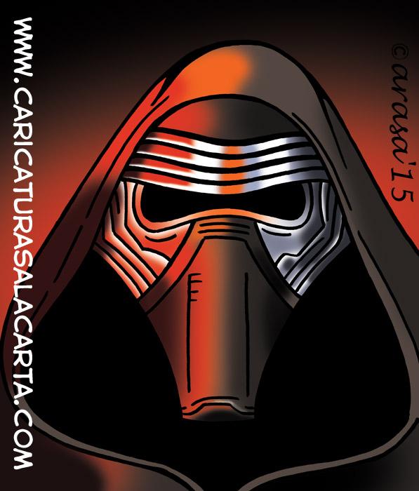Caricatura digital del personaje de la nueva entrega de Star Wars interpretado por Adam Driver
