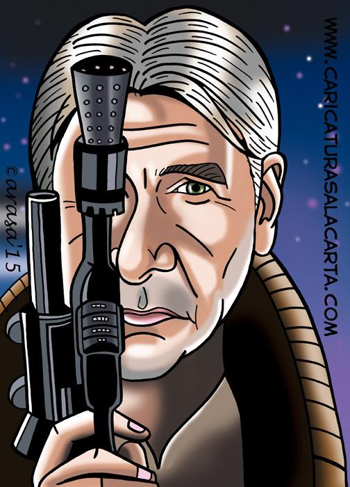 Caricatura digital del personaje de la nueva entrega de Star Wars interpretado por Harrison Ford