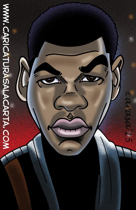 Caricatura digital del personaje de la nueva entrega de Star Wars interpretado por John Boyega