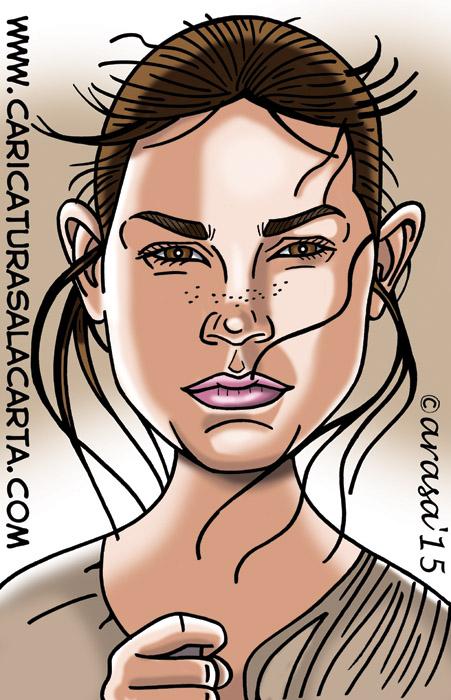 Caricatura digital del personaje de la nueva entrega de Star Wars interpretado por Daisy Ridley
