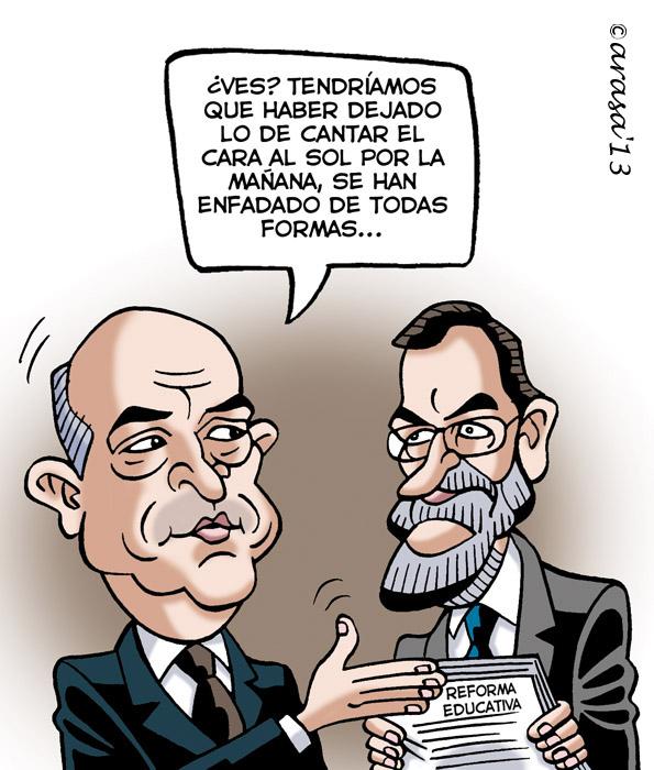 Reforma educativa de Wert. Humor gráfico, chistes políticos. PP, Rajoy, política, crisis.