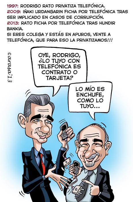 Humor gráfico, chistes políticos. Rodrigo Rato ficha por Telefónica