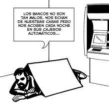 Humor gráfico sobre bancos con caricatura