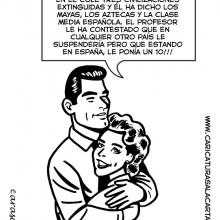 Humor gráfico sobre clase media española con Montoro y Rajoy en caricaturas digitales