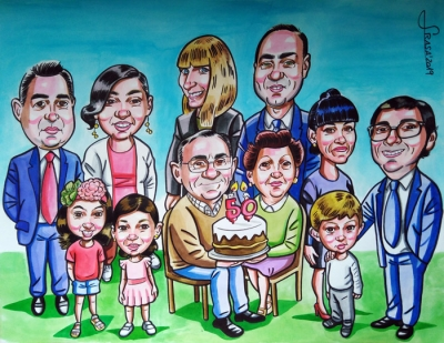 Caricaturas de grupo online a rotulador para clientes particulares