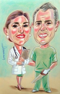 Caricaturas personalizadas online para clientes particulares al pastel