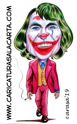Caricaturas de famosos actores. Joaquin Phoenix como Joker