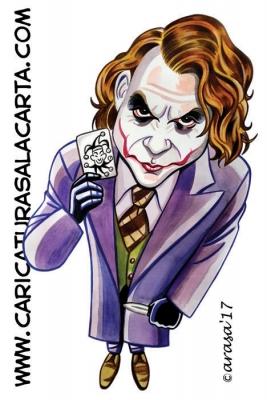 Caricaturas de famosos actores: Heath Ledger como el Joker de Batman
