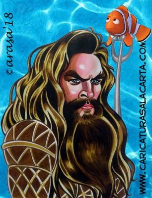 Caricaturas de famosos actores: Jason Momoa (Aquaman, Conan, Juego de Tronos)
