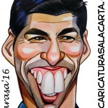 Caricaturas de famosos futbolistas: Suárez para el clásico