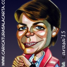 Caricatura rápida de Michael J. Fox como Marty McFly