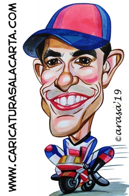 Caricaturas de famosos deportistas: Marc Márquez campeón de Motociclismo MotoGP