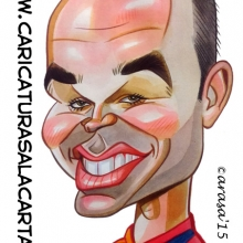 Caricaturas de futbolistas: Andres Iniesta