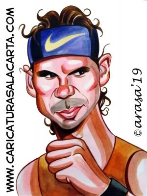 Caricaturas de famosos deportistas: tenista Rafa Nadal