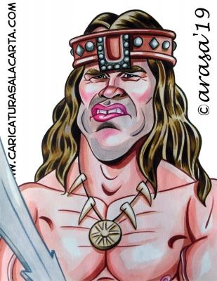 Caricaturas de famosos actores: Arnold Schwarzenegger es Conan