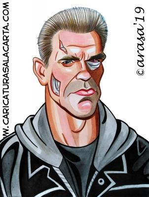 Caricaturas de famosos actores: Arnold Schwarzenegger es Terminator