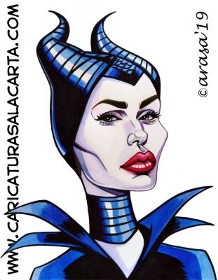Caricaturas de famosos actores: Angelina Jolie es Maléfica